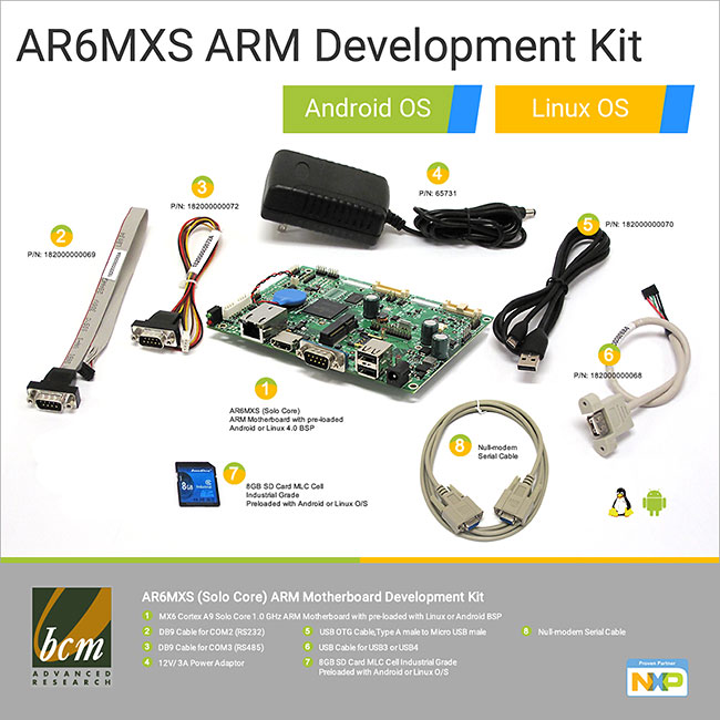 AR6MXS Solo Core Development Kit, Android, Linux, Yocto OS