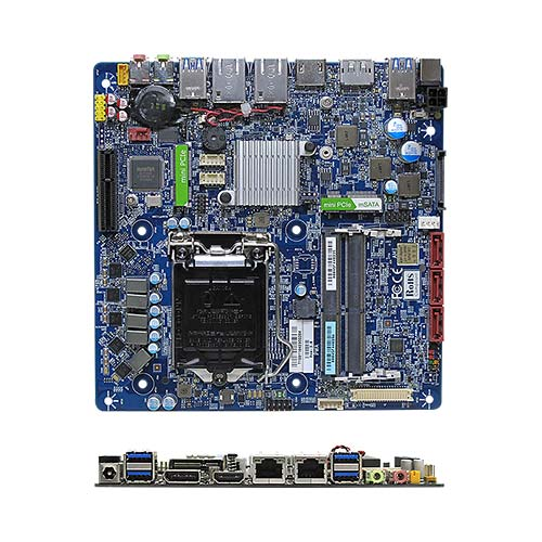 MX110HD Intel H110 Low Profile mini-ITX motherboard supports 6th/7th Generation 14nm Intel Kaby Lake/ Skylake Core i7/i5/i3 processors, DC Power Input