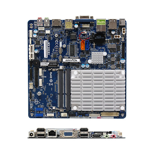MX280NI Intel Atom N2800 dual-core Thin mini-ITX Motherboard, with integrated Intel GMA 3650 Graphic Engine, Fanless Operation, Low Profile Design, Wide Range DC Input