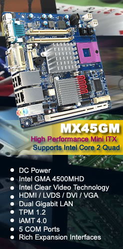 Intel GM45 Mini ITX supports intel Core 2 Duo, Intel GMA 4500MHD Graphics Engine, DC-in Onboard