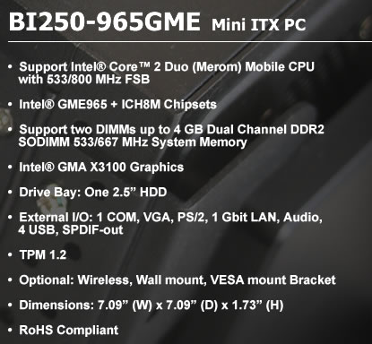 BI250-965GME Mini ITX PC spec