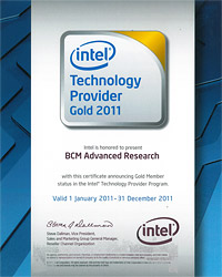 BCM is a Gold member of the Intel Technology Provider 2011