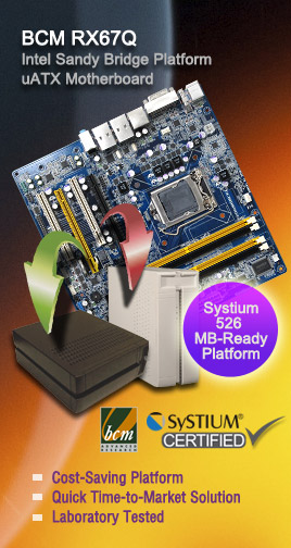 BCM RX67Q Industrial Micro ATX Motherboard is Certified Compatible with Systium® Model 52603-00R MotherBoard Ready Platform