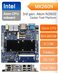 BCM MX270D Mini ITX Motherboard featuring 3rd generation Intel Atom low-power processor onboard