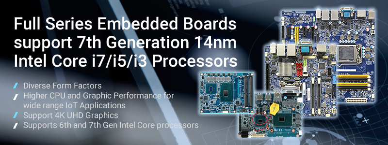 Embedded Computer Boards support 7th Generation Intel Kaby Lake Processors
